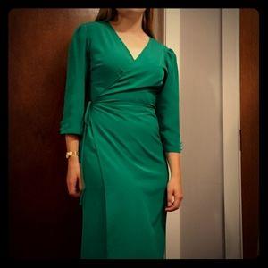 Stunning emerald green wrap dress